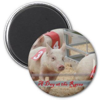 Pig racing Pig race photograph pink pig Fridge Magnets