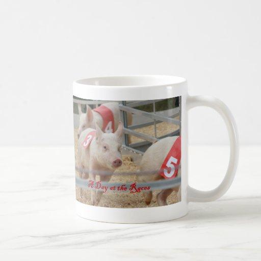Pig racing, Pig race photograph, pink pig Classic White Coffee Mug