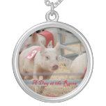 Pig racing, Pig race photograph, pink pig Custom Jewelry
