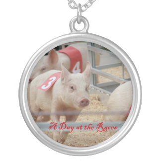 Pig racing, Pig race photograph, pink pig Round Pendant Necklace