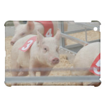 Pig racing pink piglet number three iPad mini case
