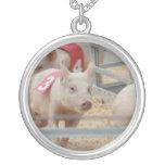 Pig racing pink piglet number three pendants