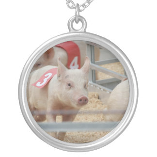 Pig racing pink piglet number three round pendant necklace
