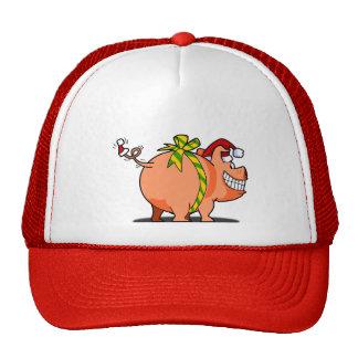 Pig Ribbon Christmas Cap Trucker Hat