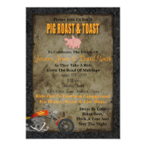 Pig Roast And Toast Biker Wedding Invitation