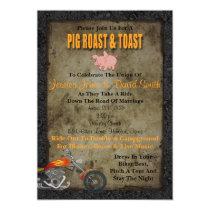 Pig Roast And Toast Biker Wedding Invitation