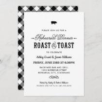 Pig Roast and Toast Black Wedding Rehearsal Dinner Invitation