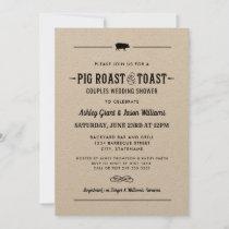 Pig Roast and Toast Kraft Wedding Couples Shower Invitation