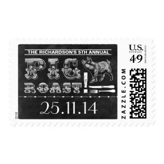 pig roast barbecue chalkboard postage stamps