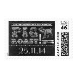 pig roast barbecue chalkboard postage stamps