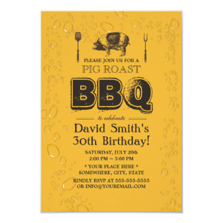 Pig Roast BBQ & Beer Birthday Party Card