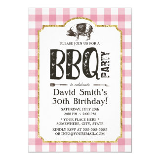 Pig Roast BBQ Birthday Party Pink Plaid Card