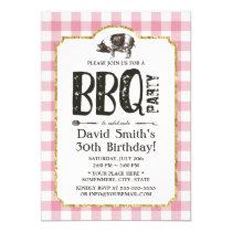 Pig Roast BBQ Birthday Party Pink Plaid Invitation