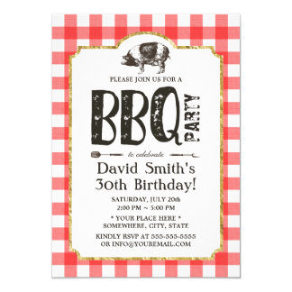 Pig Roast BBQ Birthday Party Red Plaid Card