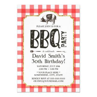 Pig Roast BBQ Birthday Party Red Plaid Card
