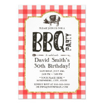 Pig Roast BBQ Birthday Party Red Plaid Invitation