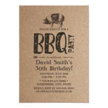 Pig Roast BBQ Birthday Party Rustic Kraft Invitation