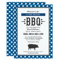 Pig Roast BBQ | Blue Gingham Plaid Birthday Party Invitation