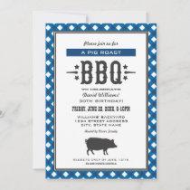 Pig Roast BBQ Blue Gingham Plaid Birthday Party Invitation