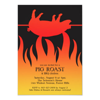 Pig Roast BBQ Flat Invitation