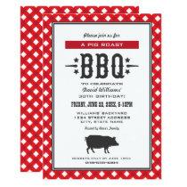 Pig Roast BBQ | Red Gingham Plaid Birthday Party Invitation