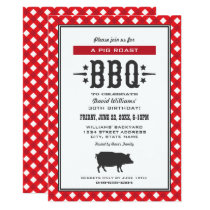 Pig Roast BBQ | Red Gingham Plaid Birthday Party Invitation
