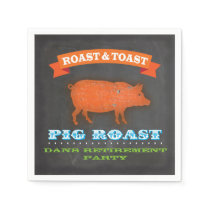 Pig Roast Chalkboard Cocktail Napkin