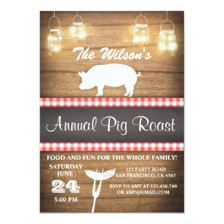 Pig Roast invitation BBQ BaByQ Shower Rustic wood