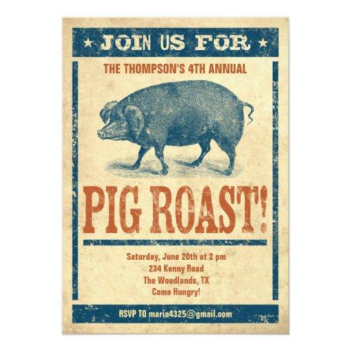 """Pig Roast Invitations 5"""" X 7"""" Invitation Card"""