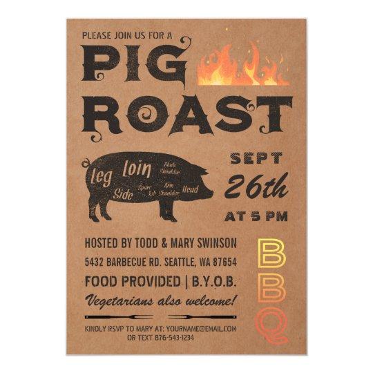 Pig Roast Invitations Bbq Butcher Paper Zazzle Com