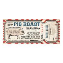 Pig Roast Invitations with Raffle Ticket