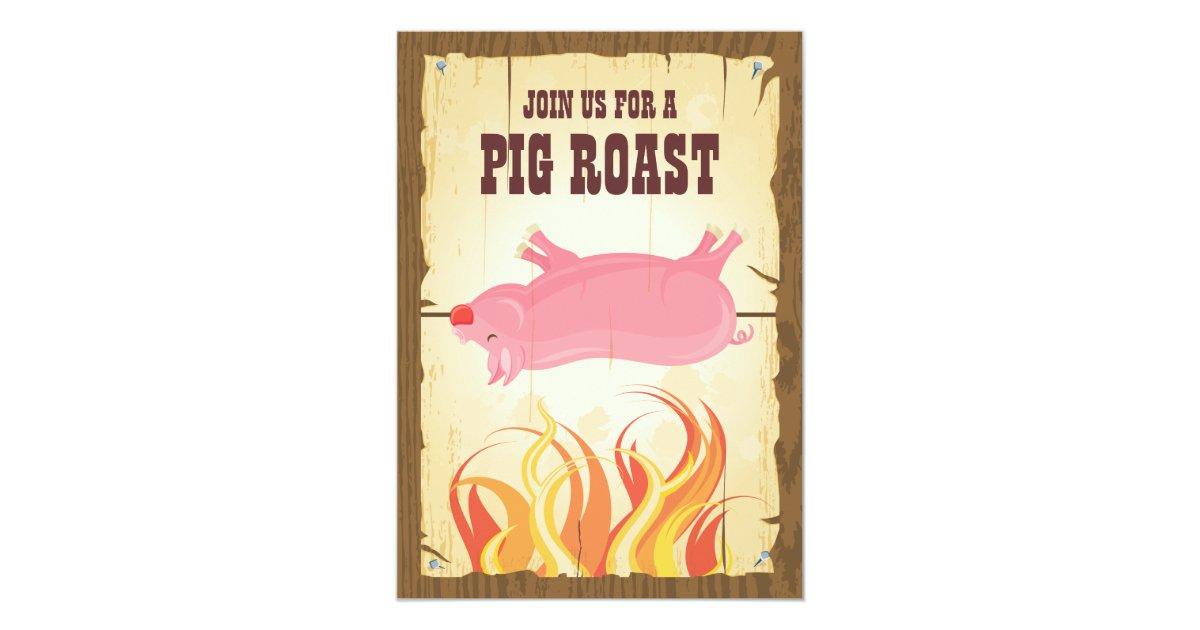 Pig Roast Party Invitation Zazzle Com