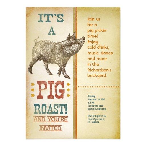 Pig Roast Party Vintage Invitations