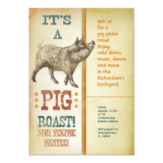 "Pig Roast Party Vintage Invitations 5"" X 7"" Invitation Card"