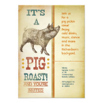 Pig Roast Party Vintage Invitations