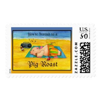 Pig Roast Postage Stamp