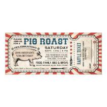 Pig Roast Ticket Invitations with Raffle Ticket v2