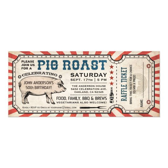 Pig Roast Ticket Invitations with Raffle Ticket v2 – Raffle Ticket