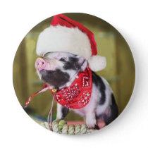 Pig santa claus - christmas pig - piglet button