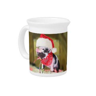 Pig santa claus - christmas pig - piglet drink pitcher