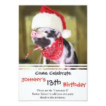Pig santa claus - christmas pig - piglet invitation