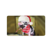 Pig santa claus - christmas pig - piglet label
