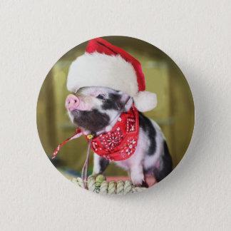 Pig santa claus - christmas pig - piglet pinback button