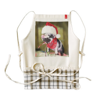 Pig santa claus - christmas pig - piglet zazzle HEART apron