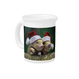 Pig santa claus - christmas pig - three pigs pitcher