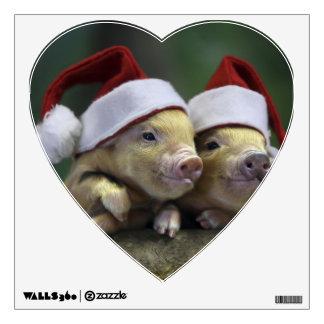 Pig santa claus - christmas pig - three pigs wall sticker
