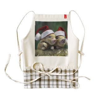 Pig santa claus - christmas pig - three pigs zazzle HEART apron
