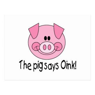Pig Says Oink Postcard