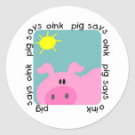 Pig Says Oink T-shirts and Gifts Round Sticker