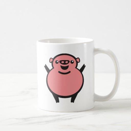 pig schwein taza básica blanca